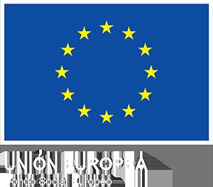 Bandera de la Unión Europea, con el texto: Unión Europea - Fondo Social Europeo